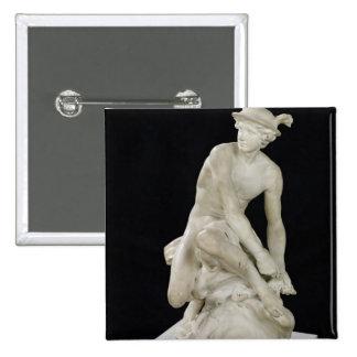Mercury que ata sus sandalias coas alas, 1744 pin cuadrado