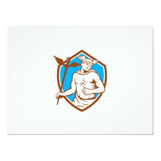 """Mercury que sostiene el escudo del personal del invitación 6.5"""" x 8.75"""""""