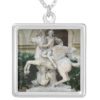 Mercury riding Pegasus Silver Plated Necklace