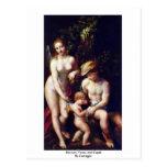 Mercury, Venus And Cupid By Correggio Postcard