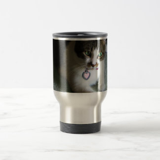 Mercutio, the Contemplative Cat Travel Mug