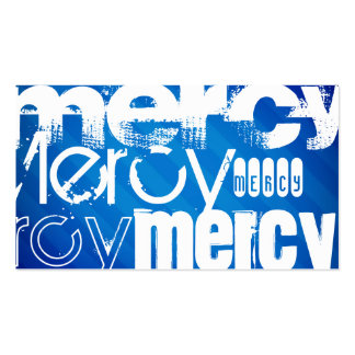Mercy; Royal Blue Stripes Double-Sided Standard Business Cards (Pack Of 100)