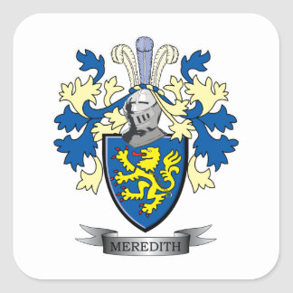 Meredith Family Crest Coat of Arms Square Sticker