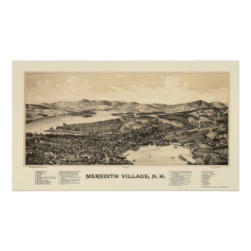Meredith, mapa panorámico del NH - 1889 Impresiones