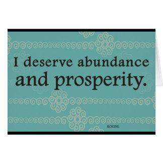 Merezco afirmaciones de la prosperidad y de la abu tarjeta de felicitación