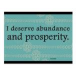 Merezco afirmaciones de la prosperidad y de la abu tarjetas postales