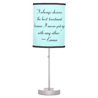 Merezco la mejor cita de Jane Austen del Lámpara De Mesa