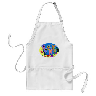 Merfairies in Ocean with Dolphins Apron
