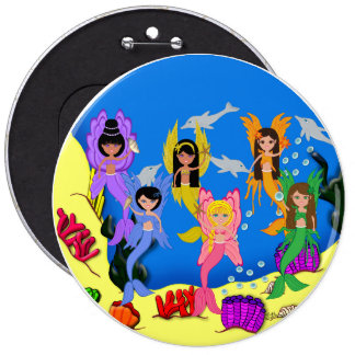 Merfairies in Ocean with Dolphins Big Button