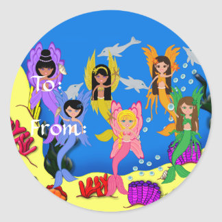 Merfairies in Ocean with Dolphins Gift Tags Classic Round Sticker