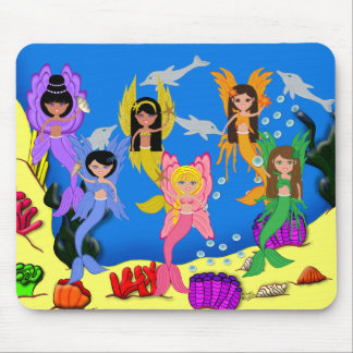 Merfairies in Ocean with Dolphins Mouse Pad