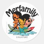 Merfamily® Singapur Sampan Pegatina Redonda