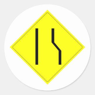Merge Left Sign Classic Round Sticker