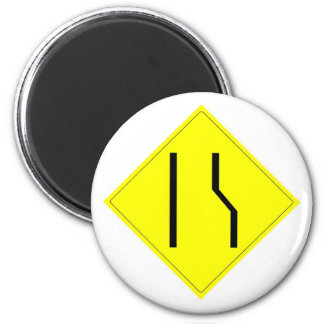Merge Left Sign 2 Inch Round Magnet