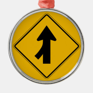 Merge Left, Traffic Warning Sign, USA Ornament