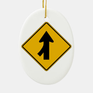 Merge Left, Traffic Warning Sign, USA Christmas Tree Ornament