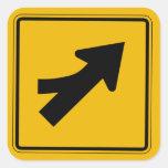 Merge Left, Traffic Warning Sign, USA Square Sticker