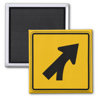 Merge Right, Traffic Warning Sign, USA 2 Inch Square Magnet