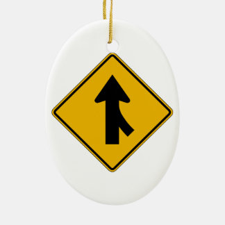 Merge Right, Traffic Warning Sign, USA Christmas Tree Ornaments