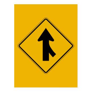 Merge Right, Traffic Warning Sign, USA Postcard
