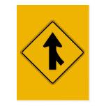 Merge Right, Traffic Warning Sign, USA Postcards