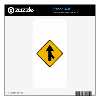 Merge Right, Traffic Warning Sign, USA Skins For The iPhone 4S