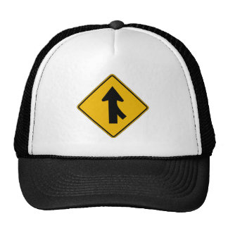 Merge Right, Traffic Warning Sign, USA Trucker Hat