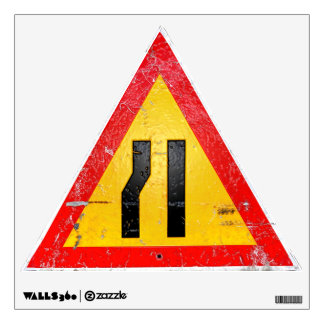 Merge Warning Road Sign Repositionable Wall Decal