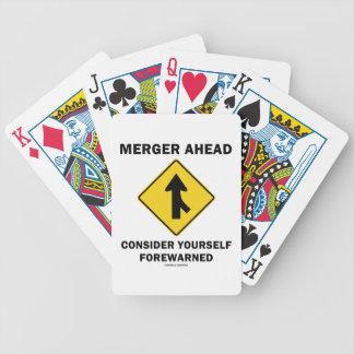 Merger Ahead Consider Yourself Forewarned Sign Card Decks