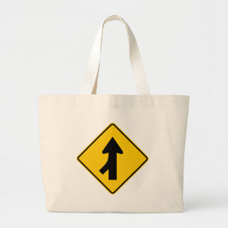 Merging Traffic Highway Sign (Left) Canvas Bags