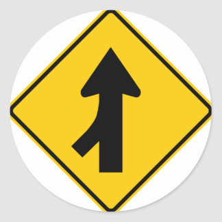 Merging Traffic Highway Sign (Left) Classic Round Sticker