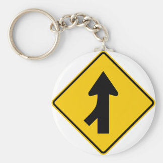 Merging Traffic Highway Sign (Left) Keychain