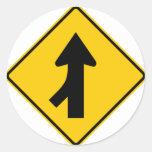 Merging Traffic Highway Sign (Left) Round Sticker