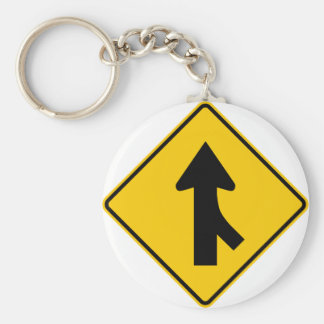 Merging Traffic Highway Sign (Right) Keychain