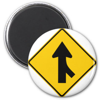Merging Traffic Highway Sign (Right) 2 Inch Round Magnet