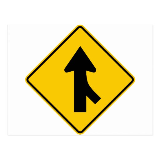 Merging Traffic Highway Sign (Right) Post Cards