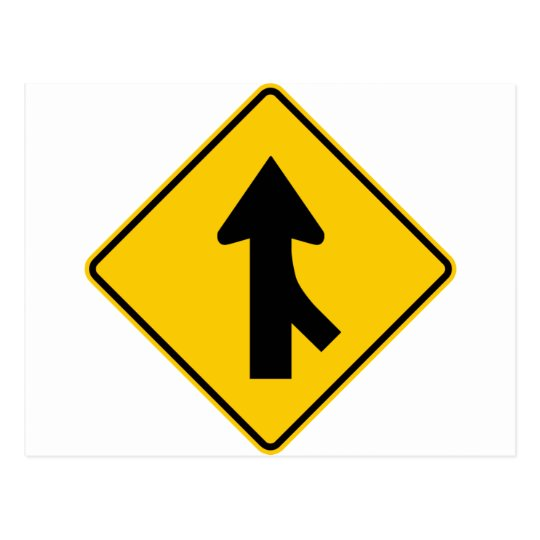 Merging Traffic Highway Sign (Right) Postcard