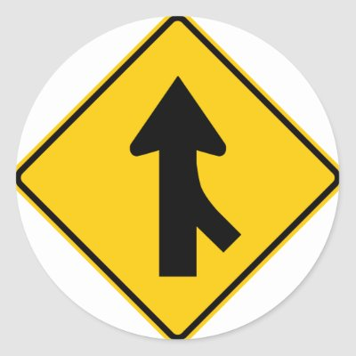 Merging Traffic Highway Sign