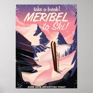 Meribel to ski poster