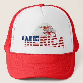 'MERICA American Bald Eagle US Flag Hat (red)