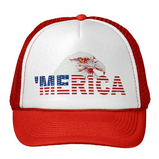 'MERICA American Bald Eagle US Flag Hat (red)
