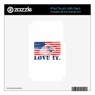 'MERICA American Flag - LOVE IT Decal For iPod Touch 4G
