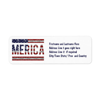 MERICA - American Pride Slang USA Flag Return Address Label