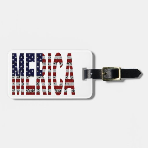 MERICA - American Pride Slang USA Flag Luggage Tags