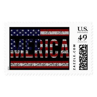 MERICA - American Pride Slang USA Flag Postage Stamp