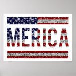 MERICA - American Pride Slang USA Flag Print