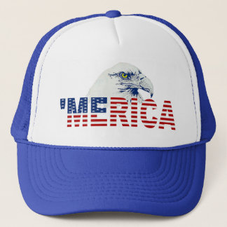 'MERICA Bald Eagle U.S. Flag Hat (blue)