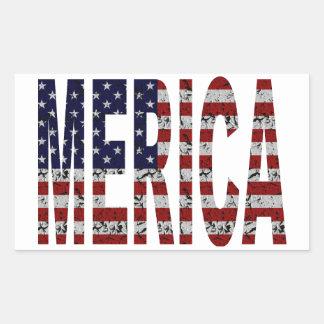 'MERICA - Bandera de los E.E.U.U. del Grunge Pegatina Rectangular
