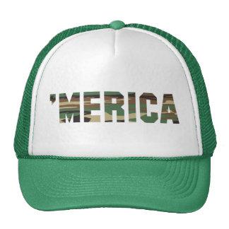 MERICA Camo Font Trucker Hat green