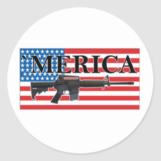 Merica Distressed Rifle Shirt h.png Classic Round Sticker